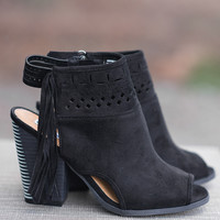 With A Hint Of Fringe Suede Peep Toe Booties (Black)