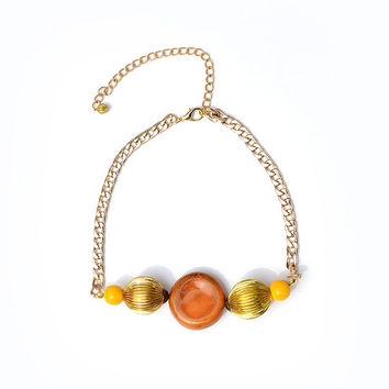 Orange Ceramic Necklace, Colorful Beaded Necklace, Short Gold Chain, Ceramic Jewelry