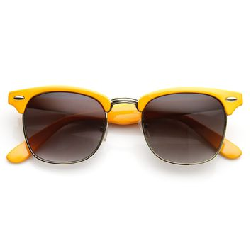 Retro Pastel Half Frame Horned Rim Sunglasses 9264