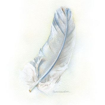 Gray Feather Watercolor Painting Fine Art Print 8 x 10