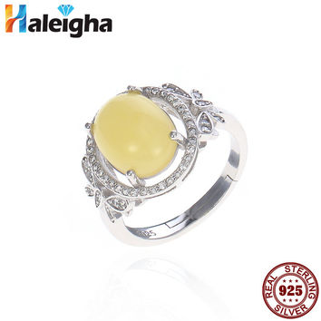 Oval Amber Rings for Women Solid 925 Sterling Silver Fine Jewelry Hollow Round Cubic Zirconia Adjustable anillos de plata 925