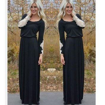 ac ICIK83Q Hot Sale Women's Fashion Black Long Sleeve Patchwork Lace Prom Dress [9266596748]