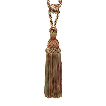 """Elegant Gold, Red, Green  Curtain & Drapery Tassel Tieback / 10"""" tassel, 30 1/2"""" Spread (embrace), 3/8"""" Cord, Imperial II Collection Style# TBIN-1 Color: HOLIDAY SPLENDOR - 3752"""