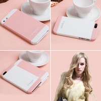 [gryxh3100053]two color mix impact case for iphone5-pink middle