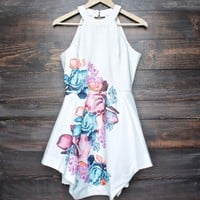 floral fit and flare open back dress