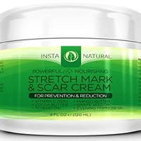 Stretch Mark Cream - For Stretch Mark Removal & Prevention - Moisturizing Body Cream Treatment - Fades Marks & Scars - For Pregnant Women, After Birth, & Men - Natural & Organic - InstaNatural - 4 OZ