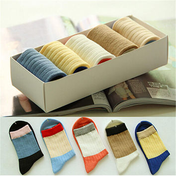 2016 New Womens Girls Comfortable Casual Warm Sstockings (5 PCS) Socks-52