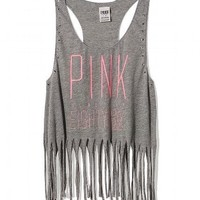 "NEW Victorias Secret ""PINK"" Size Medium Fringe Racerback Tank Top Shirt NWT"