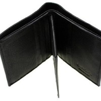 Paul & Taylor Genuine Leather Men's Compact Hipster Wallet Center Flap Black