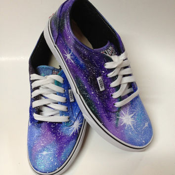 VANS VERSION - Painted Galaxy Shoes Womens Purple Shoes Custom Nebula Starry Stars Night Sky - Any Size 5.5-13
