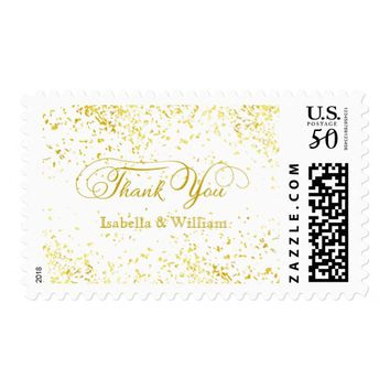 Elegant Gold Glitter Confetti Wedding Thank You Postage