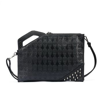 Skull Print Rivet Clutch Handbags