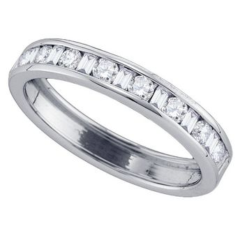 14kt White Gold Womens Round & Baguette Diamond Band Ring 1/2 Cttw