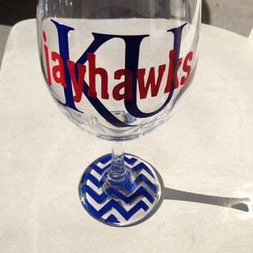 KU Jayhawks wine glass beer glass gift housewarming graduation alumni gift