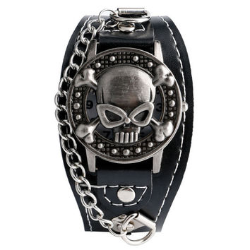 New Arrival Terror Skull Shape Leather Band Strap Men Wrist Watch Classic Gothic Style Dead Pattern Clock Male Gift