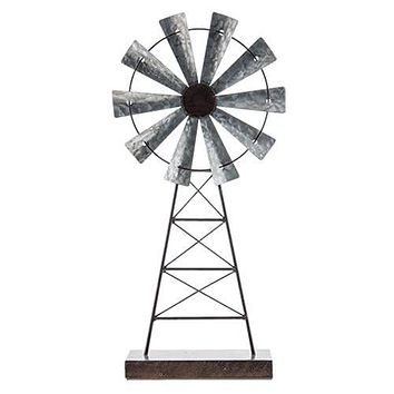 "Rustic Windmill on Wooden Stand 19"" H"