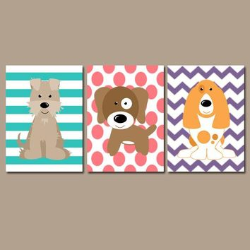 Girl DOG Wall Art, Girl Puppy Decor, Girl Dog Bedroom Pictures, Girl Dog Decor, Girl Dog Theme, Dog Lover Decor, Canvas or Prints, Set of 3