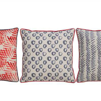 Creative Co-Op - Cotton & Linen Pillow with Pattern Print
