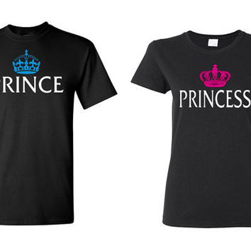Couple Tshirt - Prince & Princess -Tees - Wedding Gifts - Valentine Day - Boyfriend Girlfriend Shirts