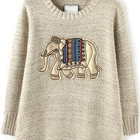 Lovely Elephant Appliqued Sweater