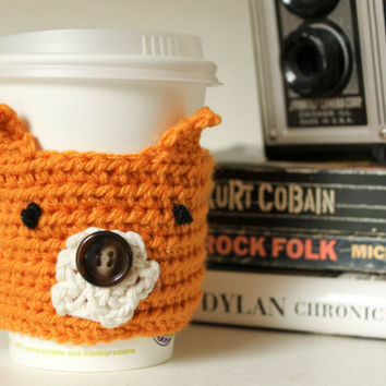 Crochet Fox Reusable Coffee Sleeve, Reusable Cup Cozy, Crochet