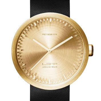 LEFF amsterdam Tube Watch Brass with Black Leather Band
