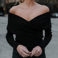 Black V-neck Off Shoulder Long Sleeve Fashion Pullover Sweater
