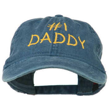 Number One Daddy Embroidered Washed Cotton Cap