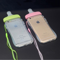 Phone cases Lovely Newest Simulation Baby Milk Bottle Clear Transparent Silicon TPU Case For iPhone 6 4.7'' inch Cover