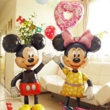 112cm Giant Mickey Minnie Mouse Balloon Cartoon Foil Birthday Party Balloon Airwalker Balloons for Kids Baby Toys Party