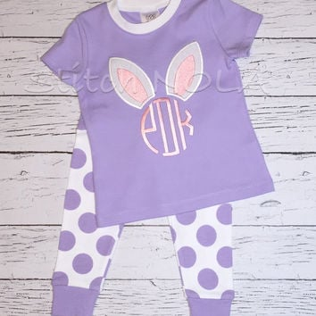 Spring PJ's with Bunny Monogram Applique