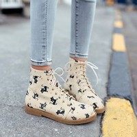 Riding Ankle Boots Canvas Cat Print Oxfords Fashion Womens Lace-up Casual Shoes