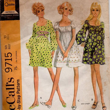 Retro Mod McCall's Sewing Pattern 1960s Baby Doll Mini Dress Empire Waist Gathered Bust 32 Long Blouson Sleeves Square Neckline