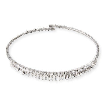 Suzanne Kalan Dangling Baguette Diamond Collar Necklace in 18K White Gold