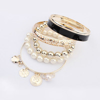 Gold Multi Layer Bangle Bracelet