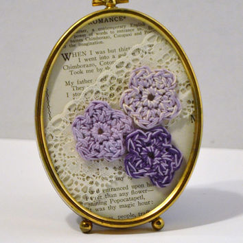 Vintage Brass Frame Crochet Flowers Lace Old Book Page Shabby Chic Purple Handmade LittlestSister