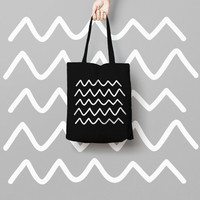 Geometric Black Tote Bag Hipster - Canvas Tote Bag - Printed Tote Bag - Market Bag - Cotton Funny Tote Bag Hipster - Black Canvas Totes
