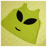 green alien crop top