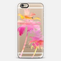 Palm Trees - Watercolor - Pink & Yellow iPhone 6 case by Happy Cat Prints | Casetify