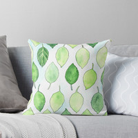 'Happy Leaves' Throw Pillow by kroksg