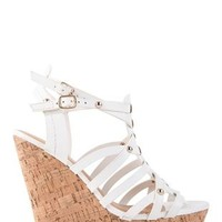 Open Toe Platform Cork Wedge with Strappy Upper