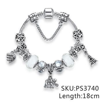 Antique Silver 925 Starfish Eiffel Tower Snowflake Crystal Heart Charm Beads Fit Original Bracelet Women DIY Jewelry Gift