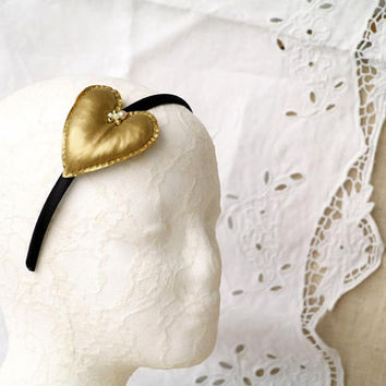 Black and Gold Headband, Soft Heart Headpiece, Valentines Day Gift, Golden Metallic Tricot Fabric Heart, Heart Fascinator Girls, Gift Idea