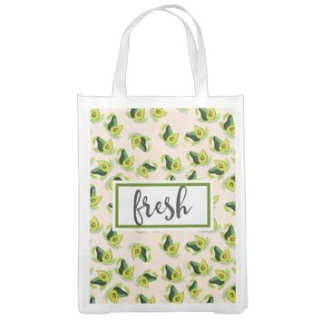 Fresh Green Avocados Watercolor Pattern Grocery Bags