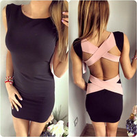 Hot Sale Bandages Hollow Out Sleeveless One Piece Dress [6325944385]