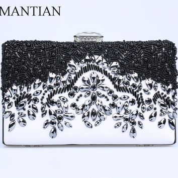 Women Black Clutch Female Vintage Day Clutches Bag Ladies Beaded Evening Bags Party Purses