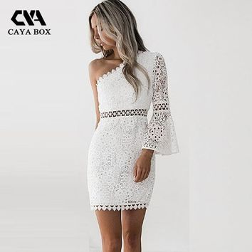 CAYA BOX Cut Off Shoulder Mini Latren Lace Women Dress boho Clothing Ladies Sexy Patchwork Lace Long Sleeve Dresses