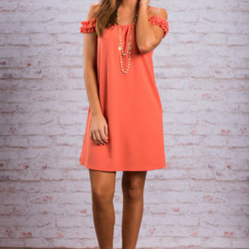 Fit To Frill Dress, Salmon