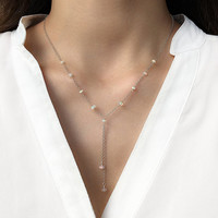 Natural Opal Lariat Y Necklace, Genuine Ethiopian Opal, 925 Sterling Silver, Occasion Jewelry, October Birthstone, Gift for Girlfriend