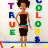 Barbie Doll Clothes - Dark Brown Dress with Colorful Hoop Loop Accents, Earrings, Shoes, and Bracelet